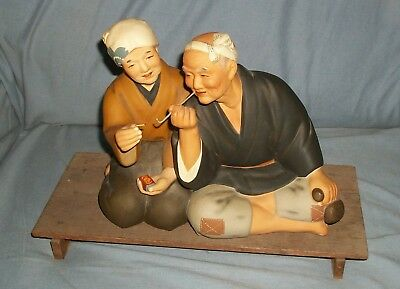 Hakata Urasaki Clay Figure Man & Wife Smoking Opium Tobacco Japan Figural Statue