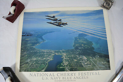 SIGNED BLUE ANGELS POSTER Grand Traverse BAY Traverse City Cherry Festival