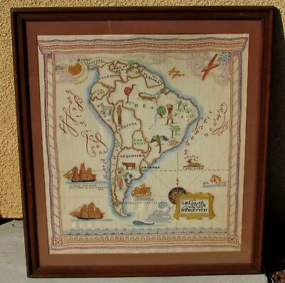 Antique Early 20Th Century Embroidered South America Map