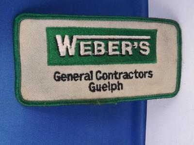 Weber's General Contractors Guelph Ontario Patch Vintage Collector Badge