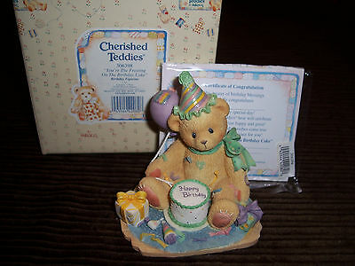 "Enesco Cherished Teddies Figurine ""You're The Frosting On The Birthday Cake"""