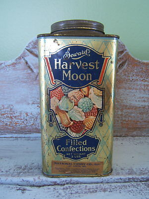 Vintage National Candy Co St Louis Sewards Harvest Moon 8'' Candy Tin