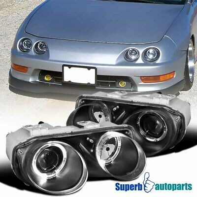 1998 2001 Acura Integra Jdm Dual Halo Projector Headlights Black Replacement