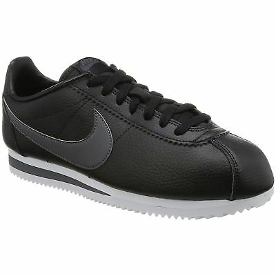 Nike Classic Cortez Black Dark Grey Men Leather Running Sneakers Casual Trainers