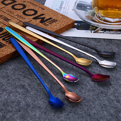 Rainbow Stainless Steel Long Handle Mug Spoon Drink Ice Spoons Kitchen Gadget