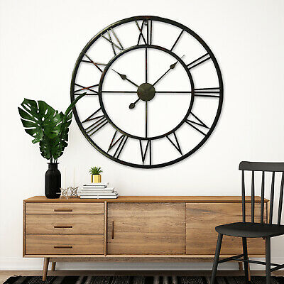 Huge 100cm Metal Iron Antique Roman Number Wall Clocks Vintage Home Decoration