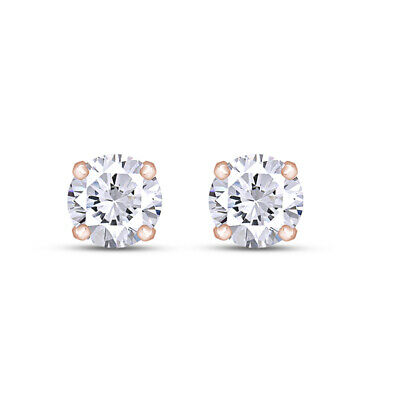 Round Brilliant Lab Grown Diamond Martini Solitaire Stud Earrings 14K Rose Gold