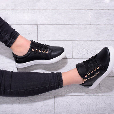 Womens Ladies Flat Trainer Pump Skater Lace Up Sport Smart Casual