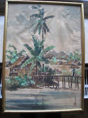 ORIGINAL ALTES BILD SIGNIERT Indochina Vietnam CAMBODGE gerahmt RAR!! HAND PAINT