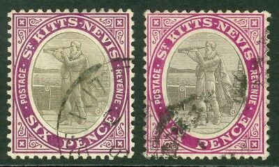 SG 19a & 19ab St Kitts Nevis 6d values. Grey, black & deep violet. Chalky...