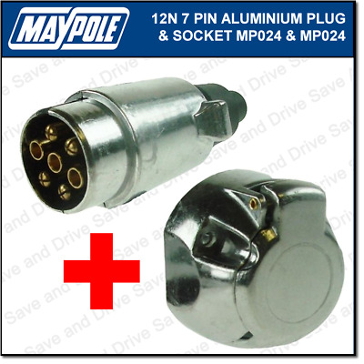 Maypole 12N Metal 7 Pin Plug & Socket Towing Trailer Caravan Electrics Aluminium