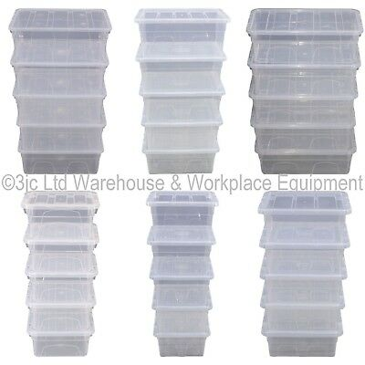 Pack Of 5 Spacemaster Clear Plastic Storage Box Boxes & Lids Ideal Home Office
