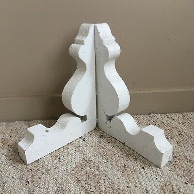 1890's Antique Pair(2) Wood Corbels Brackets Victorian Gingerbread White 115-18