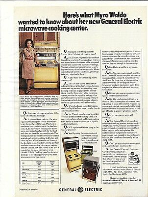 1973 General Electric Microwave Cooking Center Myra Waldo Cookbook Author Ad