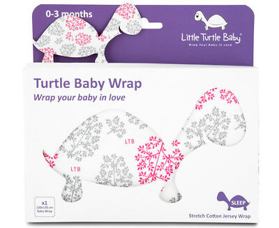 Little Turtle Baby Stretch Cotton Jersey Wrap - Pink/Grey