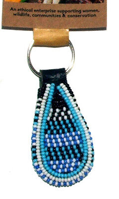 "South African Beaded Teardrop Keychain 2"" Traditional Colors FREE SHIPPING S01"