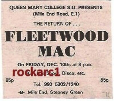 FLEETWOOD MAC UK TIMELINE Advert - Queen Mary Col'10-Dec-1970 3x3 inches