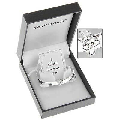 Equilibrium Silver Plated Cross Detail Baby Bangle Christening Gift  6780