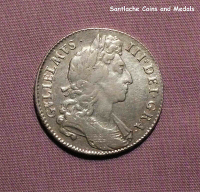 1696 KING WILLIAM III SILVER HALF CROWN - 1st Bust, Large Shields, Early Harp