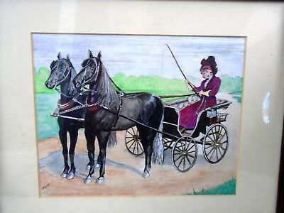 Watercolor Painting Irene Speichts Lady Driving Horse & Buggy Victorian Carriage