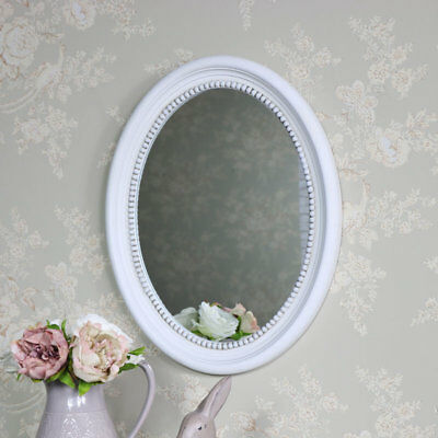 Aged antique white oval wall mounted mirror shabby vintage chic French home gift