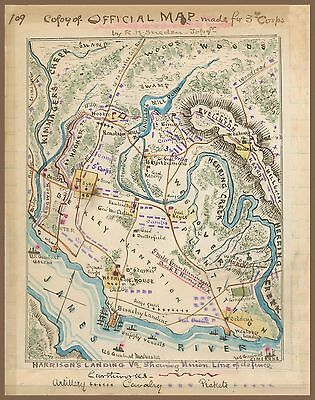 "1862 Civil War Map, Harrison's Landing, Virginia, James River, hand drawn 20""x16"
