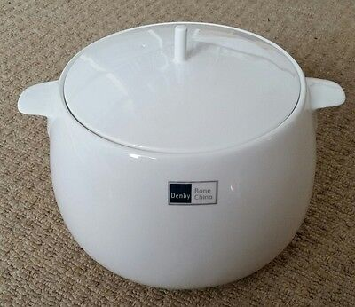 Denby Grace White Bone China Lidded Serving Soup/Vegetable Dish - Large - New