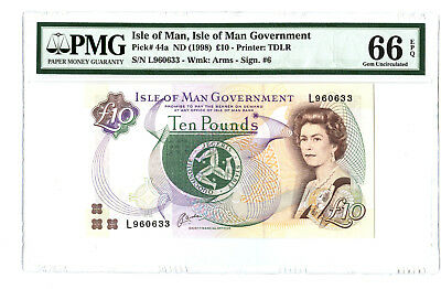 1998 10PD ISLE OF MAN GREAT BRITAIN PMG 66 EPQ PICK 44a BANKNOTE GEM UNC RARE