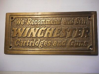 Winchester Repeating Arms Cartridges And Guns Wall Plaque - Solid Brass Sign