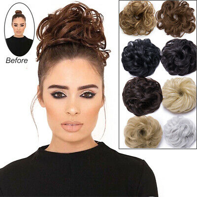 Curly Messy Bun Hair Piece Scrunchie Updo Cover Ponytail Hair Extensions Brown