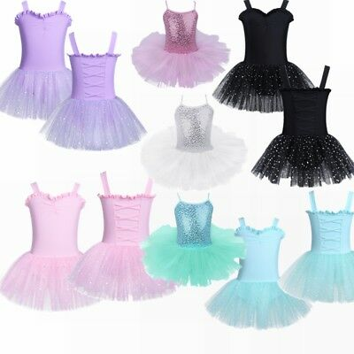 Girls Ballet Costume Tutu Kids Dance Gymnastic Unitard Leotard Skirt Dress