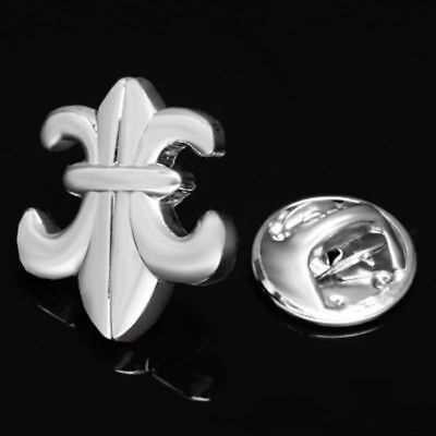 Fleur De Lys Logo Silver Plated Lapel Pin Badge Hat Tie Tack Pin Brooch Gift Box