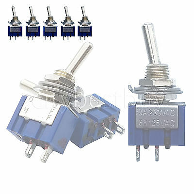 5pcs mini Toggle Switches MTS-101 Single Pole Double throw ON-OFF SPST 6A Blue