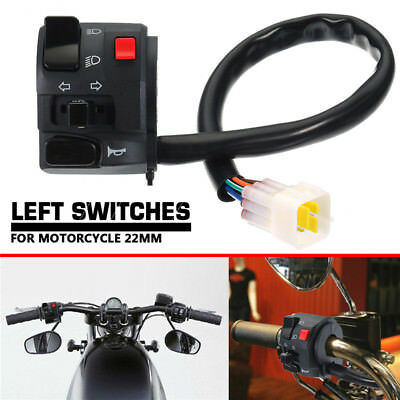 "7/8"" Universal Motorcycle Left Switch Turn Signal Light Horn Button Handlebar"