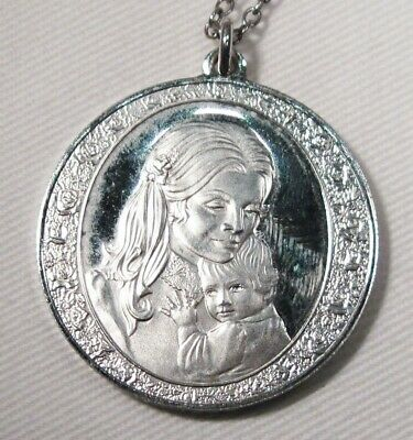 Franklin Mint Sterling Silver 1974 Mother's Day Charm Pendant Necklace K685