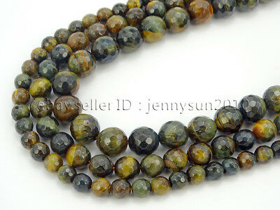 Natural Yellow Tiger's Eye Gemstone Faceted Round Beads 15'' 6mm 8mm 10mm 12mm