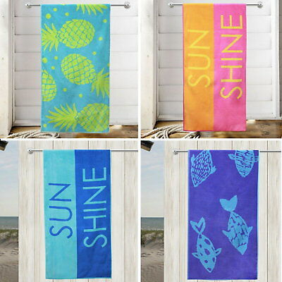 Beach Towel Velour 100% Cotton Large  Holiday Bath Towel Travel Swimming