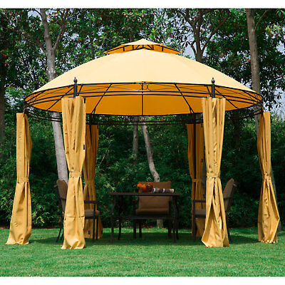 11.5u0027 Round Dome Patio Gazebo Outdoor Sun Shelter Canopy Tent Metal Garden Lawn & OUTDOOR HOME 10u0027 x 12u0027 backyard garden awnings Patio Gazebo canopy ...