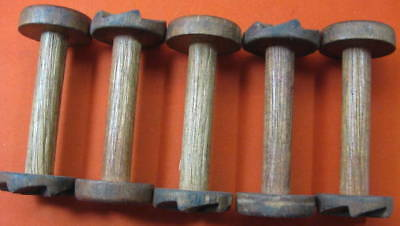 5 Oak Wood Craftmaking Spools 1870