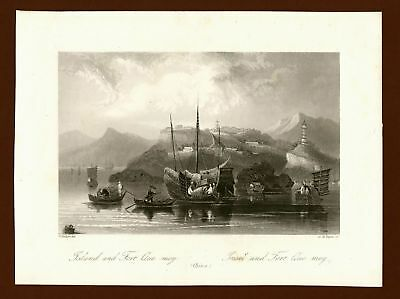 Quemoi Island China, Stahlstich steel engraving ca. 1870