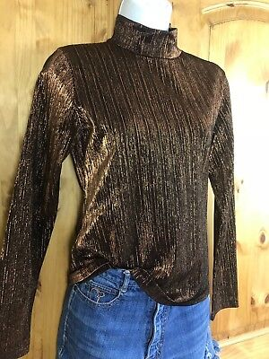 Vtg 70s 80s Shirt Top Blouse Metallic Turtle neck Western Wear Rodeo USA Made