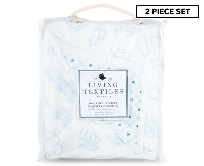 Living Textiles Bassinet Comforter Set 2-Pack - White/Blue