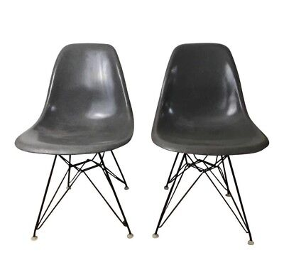 Pair Vintage Charles Eames Herman Miller Shell Chair Eiffel Elephant Hide  Grey