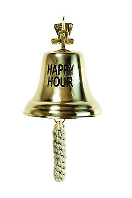 Large Brass HAPPY HOUR Bell Bartenders Bells Pub Tavern Bar Business Beer Party