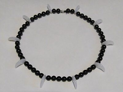 Inuyasha's Necklace (Black Onyx / White Jade) Kotodama No Nenju Anime Cosplay