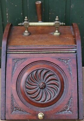 Good Old Solid Wood Coal Scuttle With Fancy Brass Handle & Metal Liner