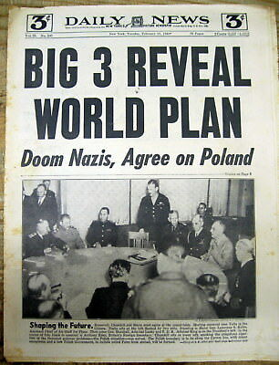 2 1945 WW II NY Daily News newspapers YALTA CONFERENCE w Stalin  FDR&  Churchill