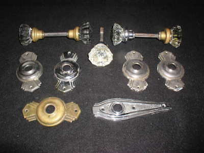 Vintage Lot of Glass Door Knobs & Face Plates