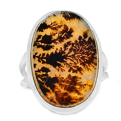 Scenic Dendritic Agate 925 Sterling Silver Ring Jewelry s.6.5 SDAR743
