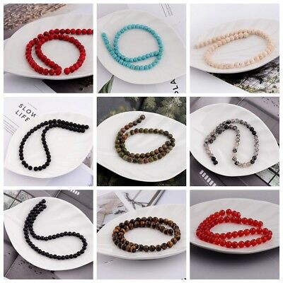 Round Natural Stone Beads Loose Beads Bracelets Bangle Accessory 4 6 8 10 12mm
